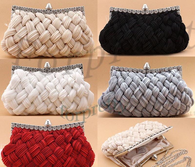 Satin-Diamond-Braided-Bridal-Clutch-Evening-Bag-Handbag-White-Black-Red-Beige