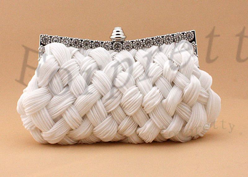 Satin Diamond Braided Bridal Clutch Evening Bag Handbag White/Black/Red/Beige