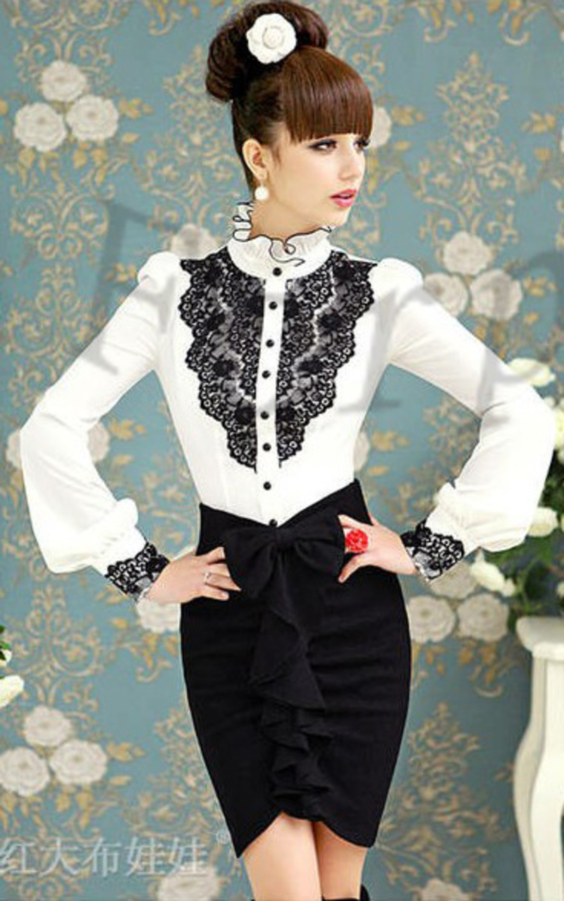Women-s-White-Color-Long-Sleeve-OL-Stand-Collar-Lace-Shirt-Blouse-Top-CtF