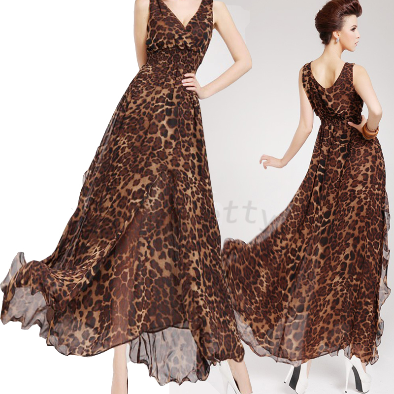 Summer Sexy Leopard Deep V Neck Layers Big Hem Maxi Long Chiffon Dress Beach