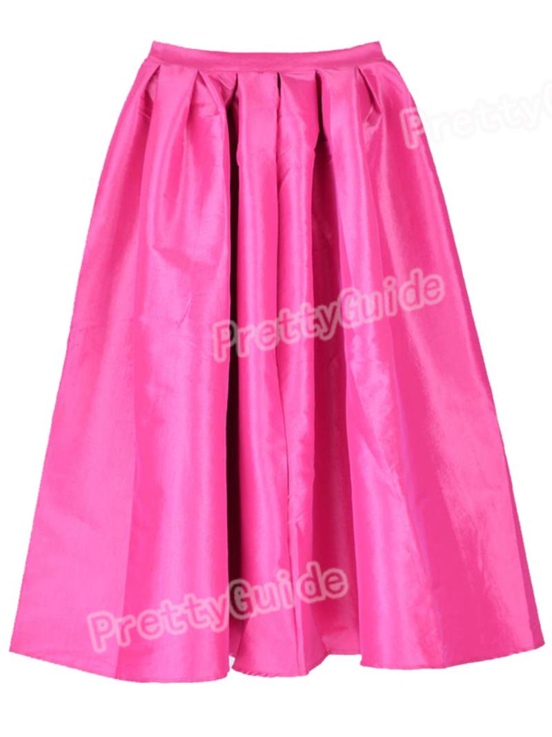 Women Retro High Waist Full A Line Pleated Swing Dress Midi Bubble ...