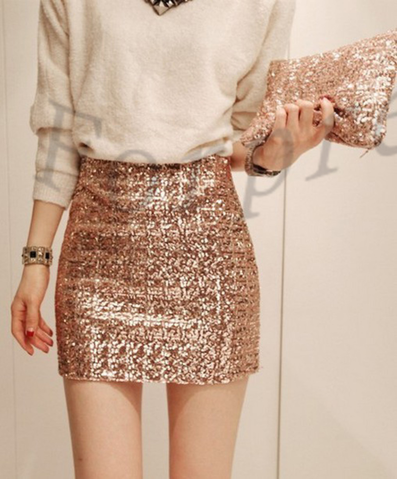 Sexy Bling Bling Metallic Sequined High Waist Bodycon Stretch Mini Skirt