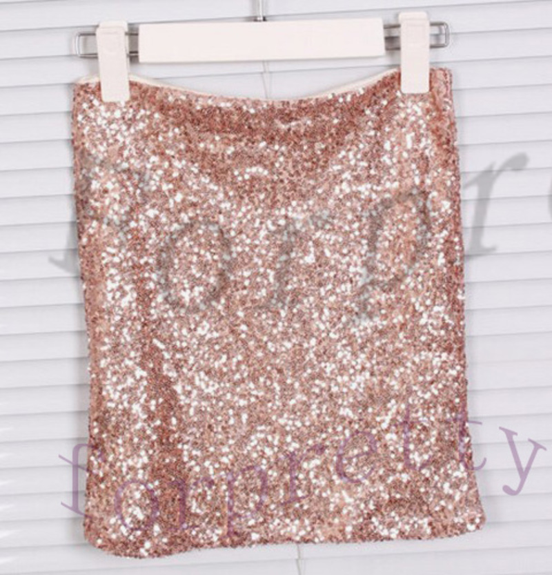 Sexy Bling Bling Metallic Sequined High Waist Bodycon Stretch Mini ...