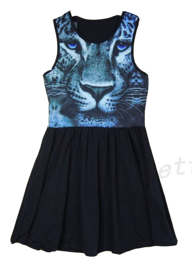 3D-Animal-Cat-Kitten-Tiger-Face-Print-High-Waist-Sleeveless-Skater-Dress