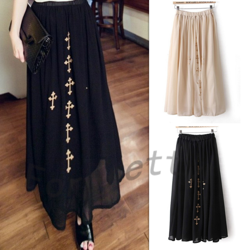 Women High Waist Bronzing Cross Print Chiffon Maxi Long Skirt