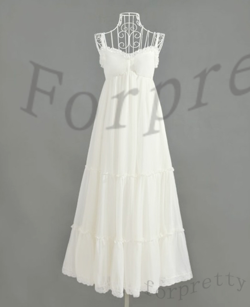 Womens Elegant White Chiffon Straps BOHO Maxi Long Dress D608L