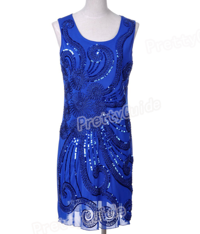 Art Deco Nude 1920s Style Glam Flapper Sequin Gatsby Charleston Dress