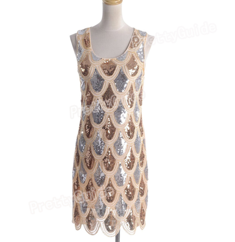 1920s scallop fish scale flapper sequin embellished shift