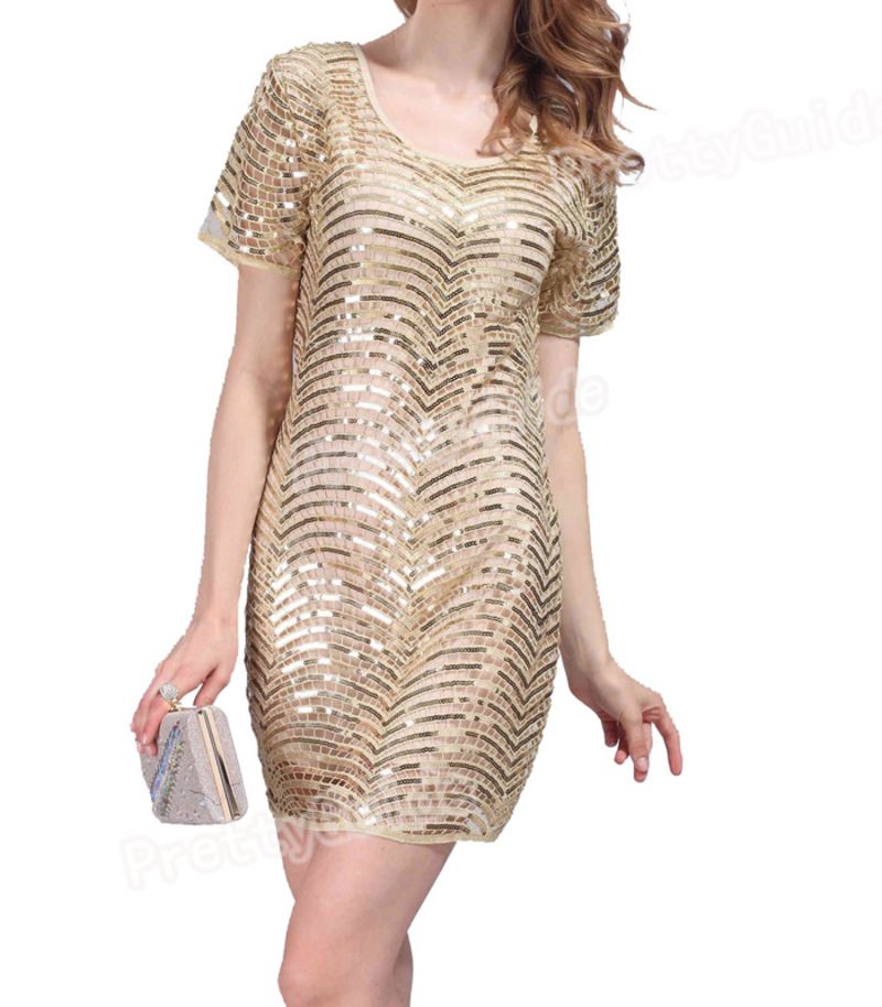 Gatsby Dresses: 1920s Flapper Deco Gatsby Overlay Sequin Hollow