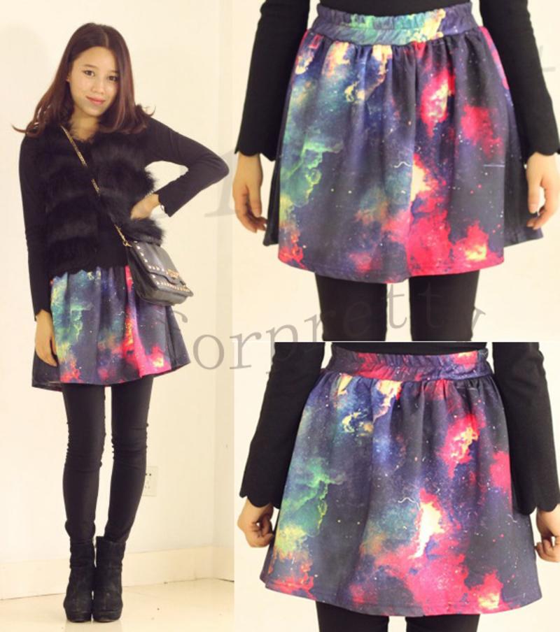 Women-039-s-Digital-Galaxy-Print-Space-Cosmic-Sky-High-Waist-Puff-Skirt