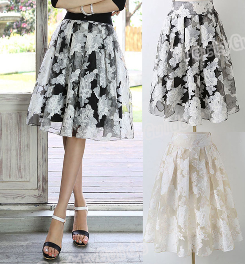 Women High Waist Breeze Organza A Line Swing Dress Midi Skirt | eBay