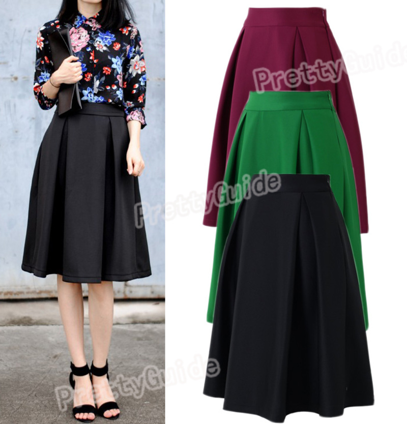 Women Retro High Waist Full A Line Pleated Swing Dress Midi Skirt ...