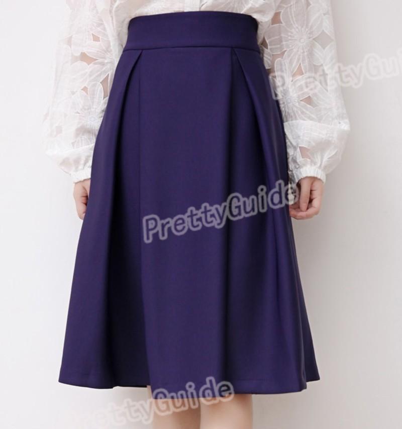 Women Retro High Waist Full A Line Pleated Swing Dress Midi Skirt
