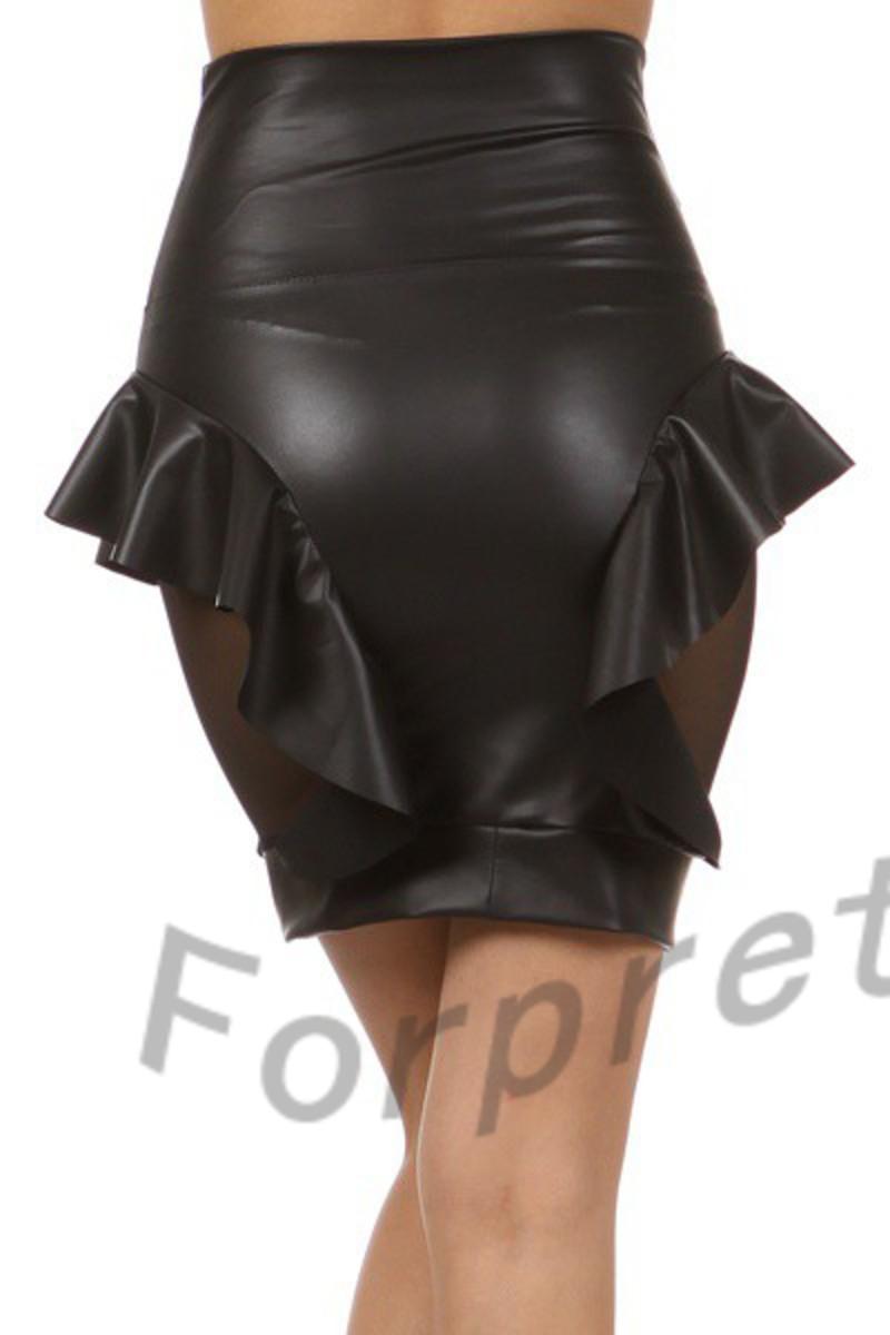 high waisted faux leather peplum ruffle semi sheer