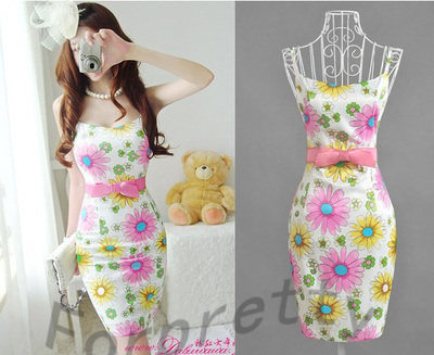 Sexy Daisies Print Floral Slim Skinny Bodycon Strechy Strap Dress