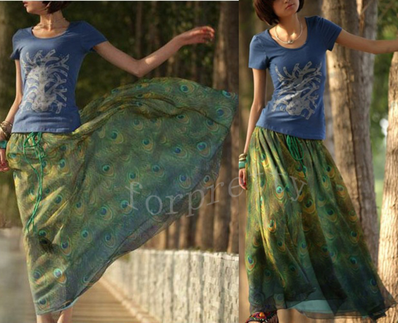 Chiffon Peacock Feathers Long BOHO Maxi Skirt Elastic Waist Band Beach Dress Dkq