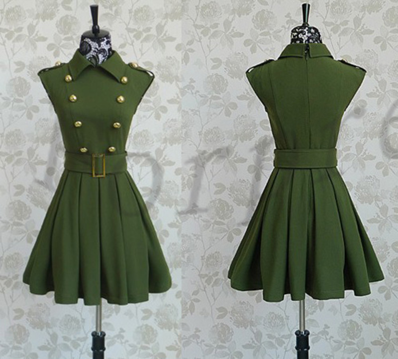 Military-Style-Army-Green-Double-Breasted-Belted-Big-Hem-Career-Dress