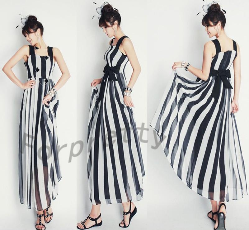Black white vertical stripe chiffon sling sleeveless evening ball gown