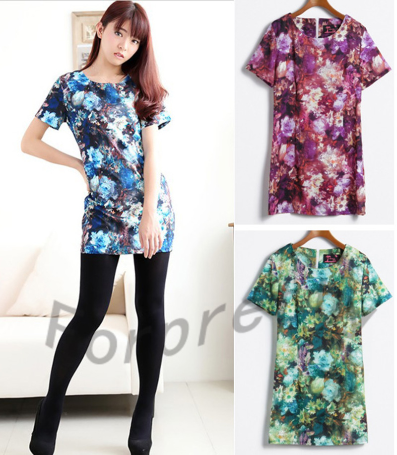 Sexy Womens Flower Print Tie- Dye Short Sleeves Mini Dress