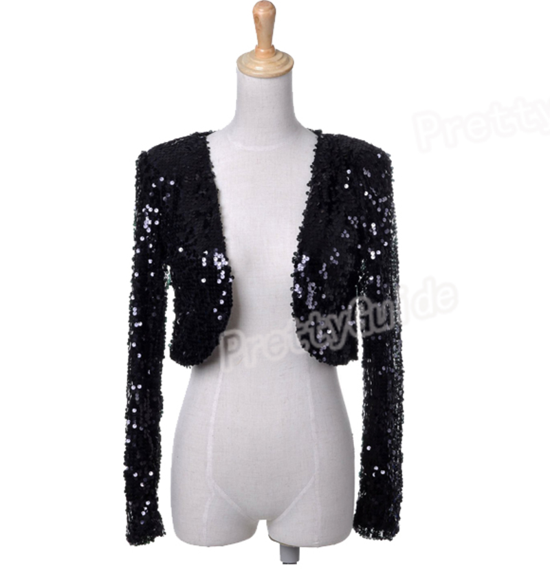 Women Sequins HIPHOP Disco Dance Ball Long Sleeve Cropped Jacket