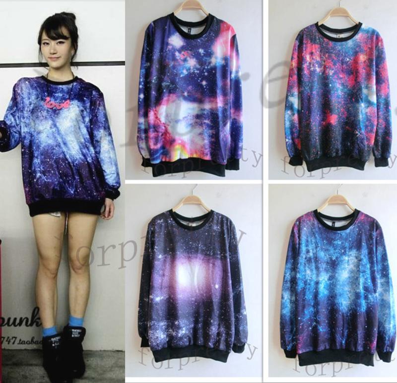 Women's Galaxy Space Starry Print long Sleeve Top Round T Shirt