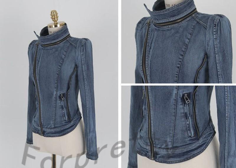 Punk Asymmetric Lapel Zipper Denim Jean Blazer Jacket stylish Crop ...