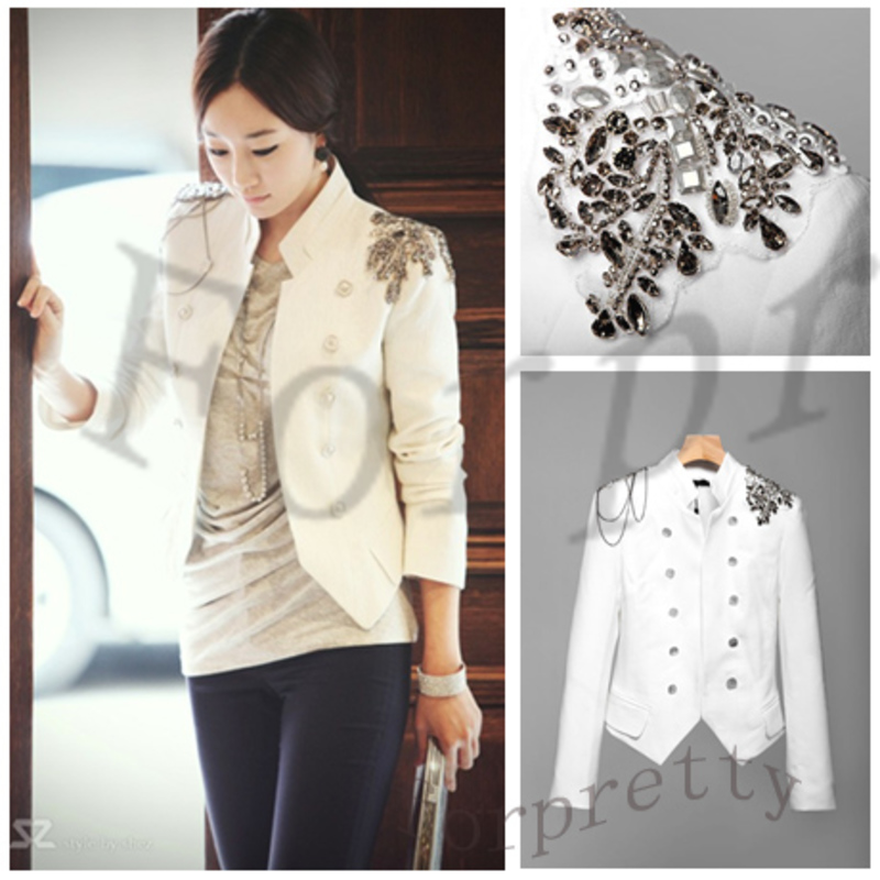Women White Slim Epaulet Double-breasted Suit Jacket Blazer | eBay
