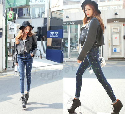 Women Retro Fluorescence Cross Stars Embroidery High-waist Skinny Blue Jeans