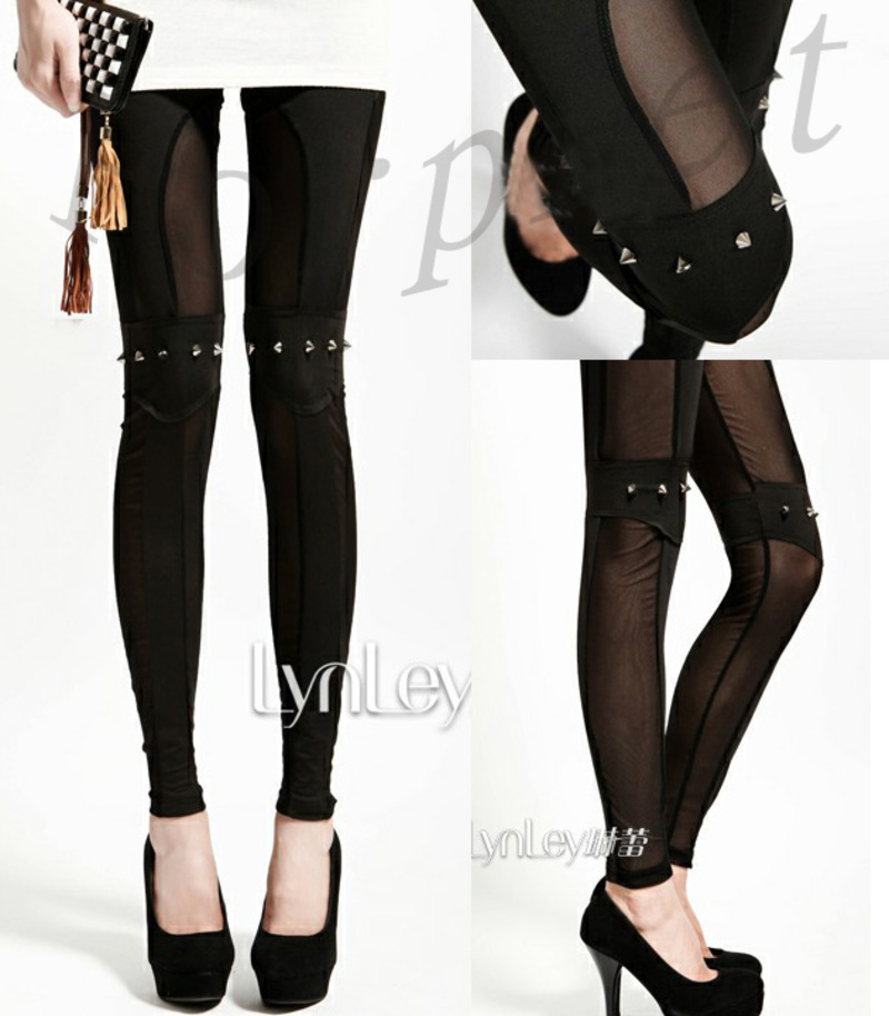 Women Punk Rock Knee Rivet Studs Spike See Through Leggings pants K516