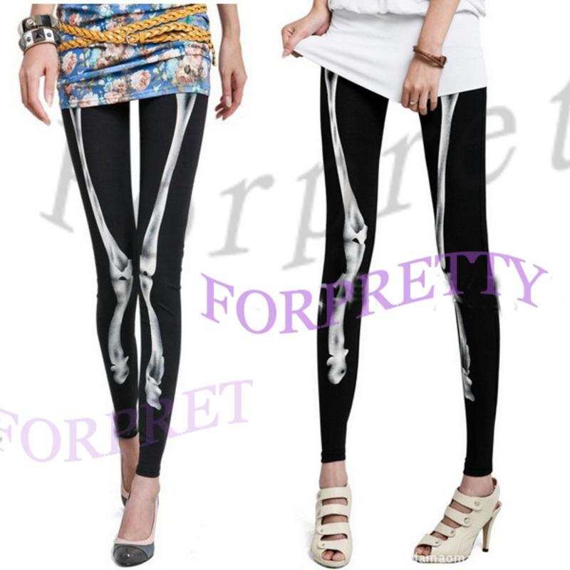 Women Punk Bones Printed Skeleton Black Pants Tights Leggings Legwear Kgt