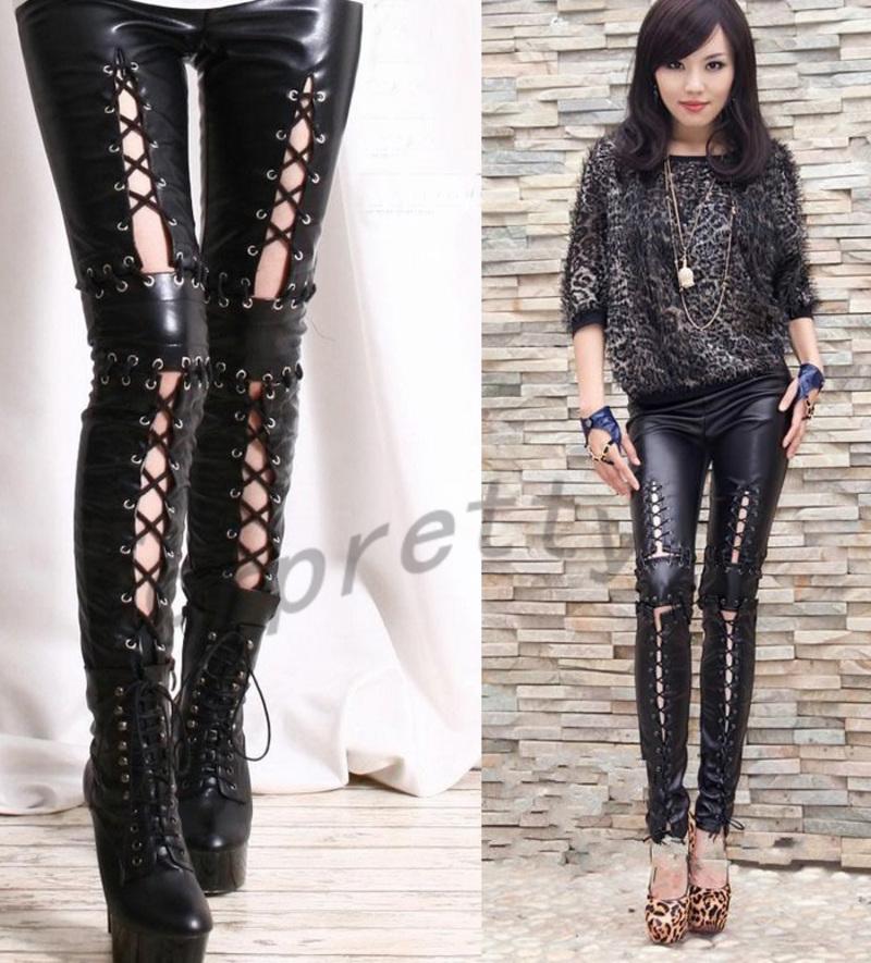 Punk-Rock-Armor-Corset-Laceup-Faux-Leather-Tie-Zip-Ankle-Pants-Legging