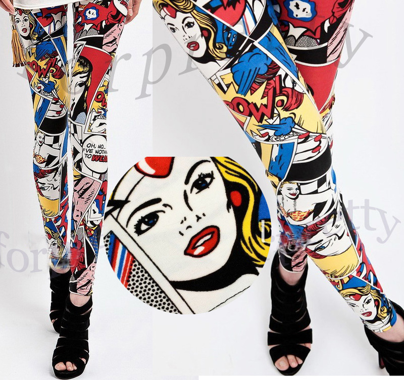 Women Rock Punk Black and White Splatter Paints Leggings Tights Pants