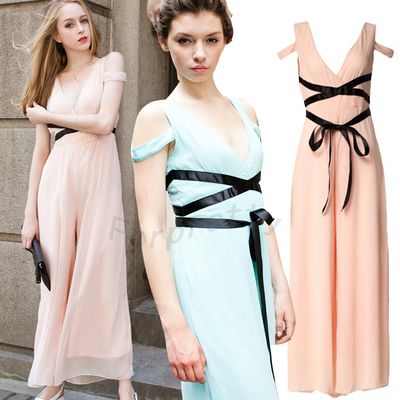 Summer Chiffon Cross Straps Deep V High Waist Wide Leg Jumpsuit Rompers Playsuit