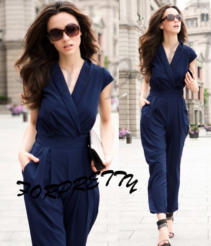 Summer Sexy Cross Deep V Jumpsuit Rompers Playsuits Long Pants ...