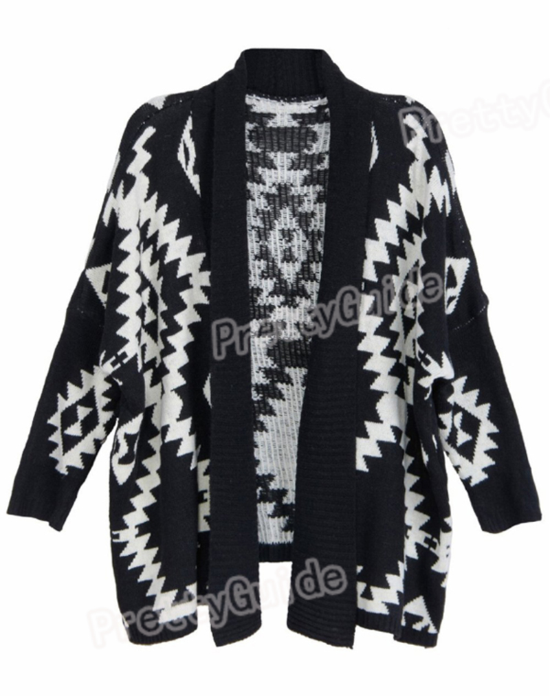 The multicolored tribal print wrap cardigan looks sweet. Try it on with whtie top, blue jeans, slouchy brown leather boots and neon sky blue scarf. Wrap long cardigan is a great choice so far for teaming with cream beige tank top and boot-cut jeans.
