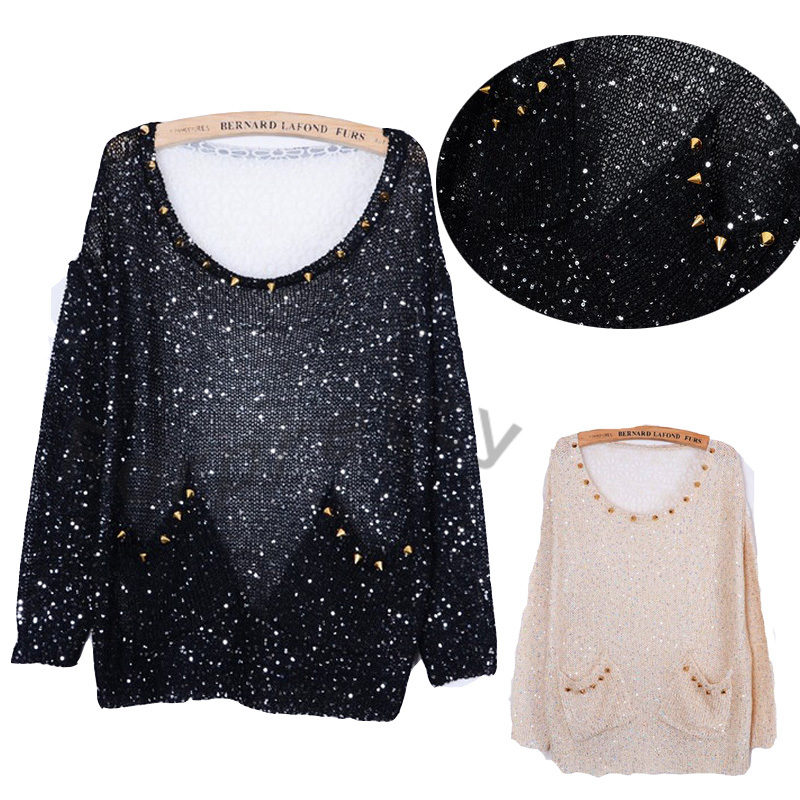 Women Rock Spiked Studs Semi See Through Sequins Lace Loose Jumper Sweater Top