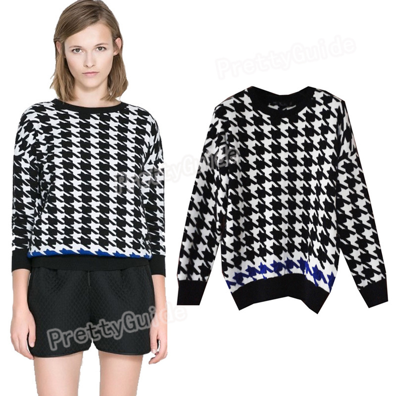 Swallow Grid Check Tweed Hounds Tooth Jacquard Knitwear Sweater Pullover Tops