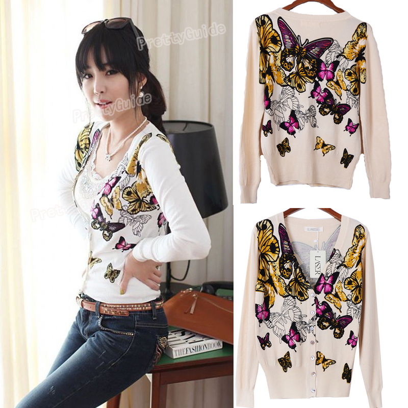 Hawaii Feeling V Neck Romantic Butterfly Print Pure Cotton Sweater Cardigan Tops
