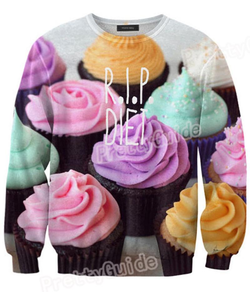 White R.I.P Diet Cup Ice cream Cake Print Couple Sweatshirt