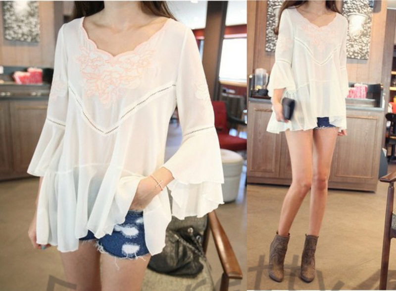 Women v-neck hand-made embroidery  flared 3/4 sleeve irregular hem  chiffon tops