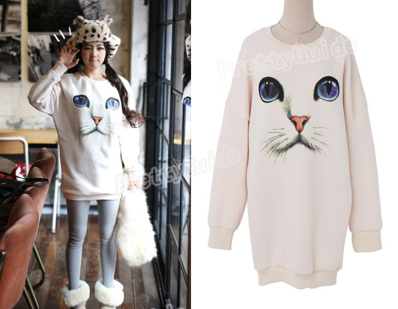 Cute Cat Face Print Long Pullover Knitted Scoop Neck Sweatshirt  Jumper Top