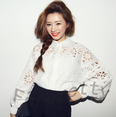 Women Retro Hollow Cutout Floral Embroidery Tops Lantern Sleeve Shirt Blouse