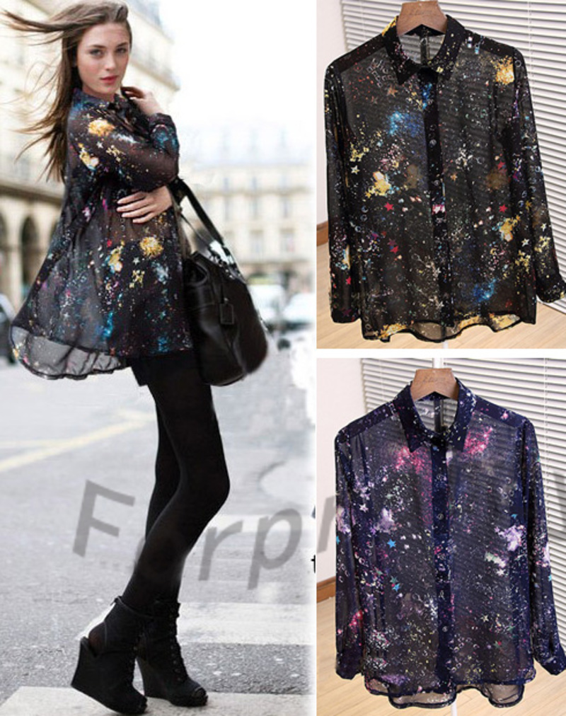 Sexy Chic Galaxy Star Chiffon Sheer Long Sleeves Top Shirt Blouse