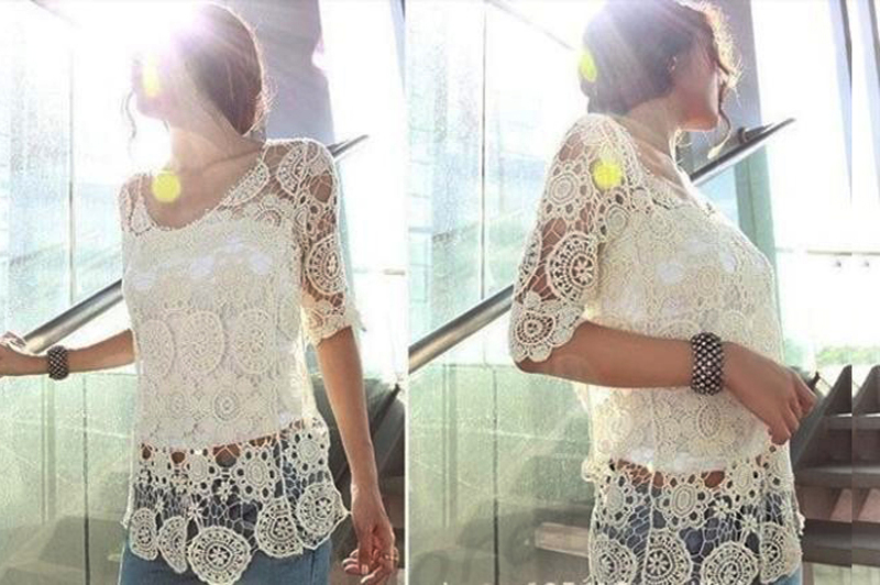 Sexy Vintage Cutout Floral See Through Lace Crochet Tee Tops T Shirt Tank