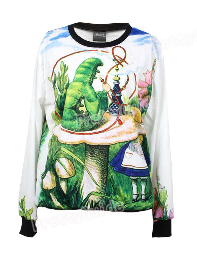 Women-Alice-039-s-Adventures-in-Wonderland-Print-Loose-Jumper-Sweatshirt